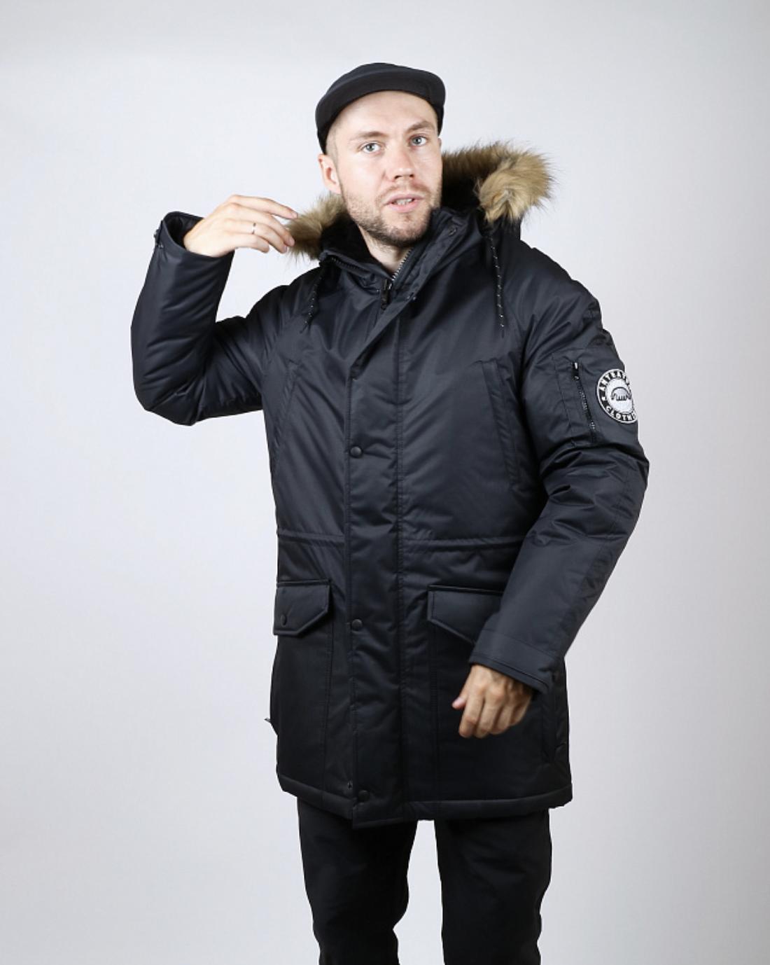 42ad319d40e1b Куртка зимняя Anteater Alaska черного цвета. Зимняя хип хоп куртка.